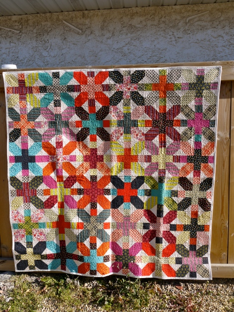 """Denyse Schmidt X & + Quilt  60"""" x 60"""", cotton front and back with 80/20 cotton/poly blend batting.   $450"""