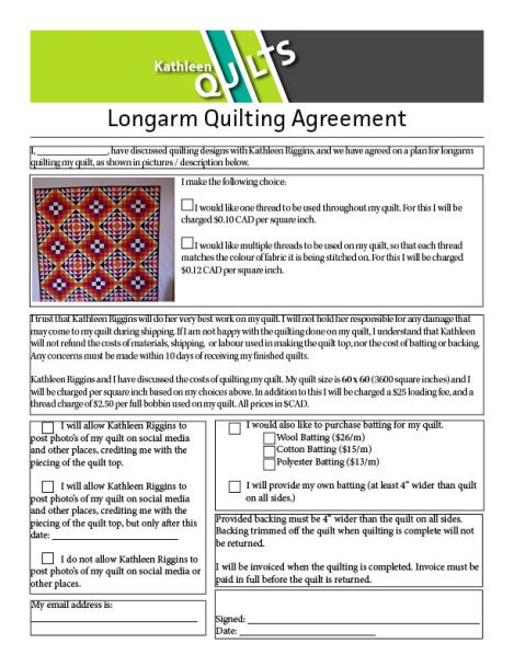 Long Arm Quilting Agreement -Default